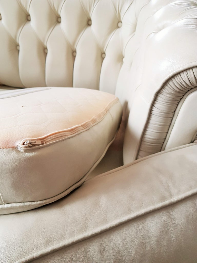 Midcentury Chesterfield Sofa Loveseat White Leather For Sale 9