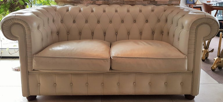 Midcentury Chesterfield Sofa Loveseat White Leather For Sale 14