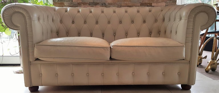 Midcentury Chesterfield Sofa Loveseat White Leather For Sale 15