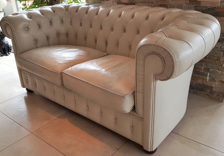 Late 20th Century Midcentury Chesterfield Sofa Loveseat White Leather For Sale