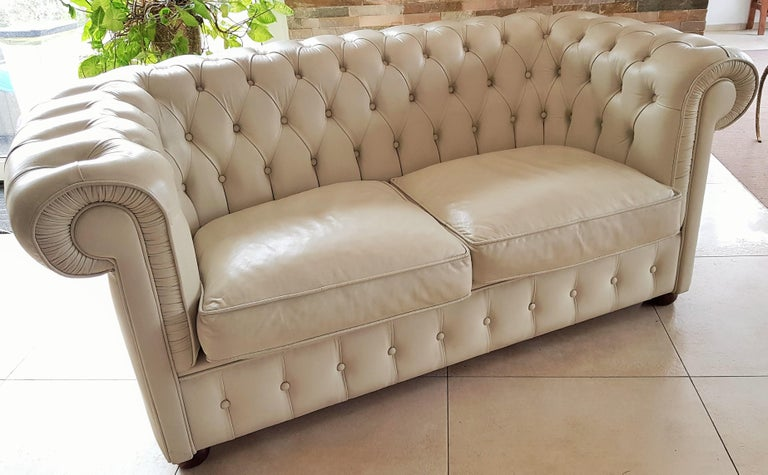 Midcentury Chesterfield Sofa Loveseat White Leather For Sale 1
