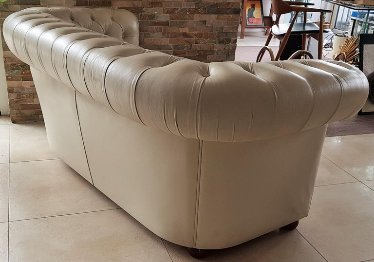 Midcentury Chesterfield Sofa Loveseat White Leather For Sale 3