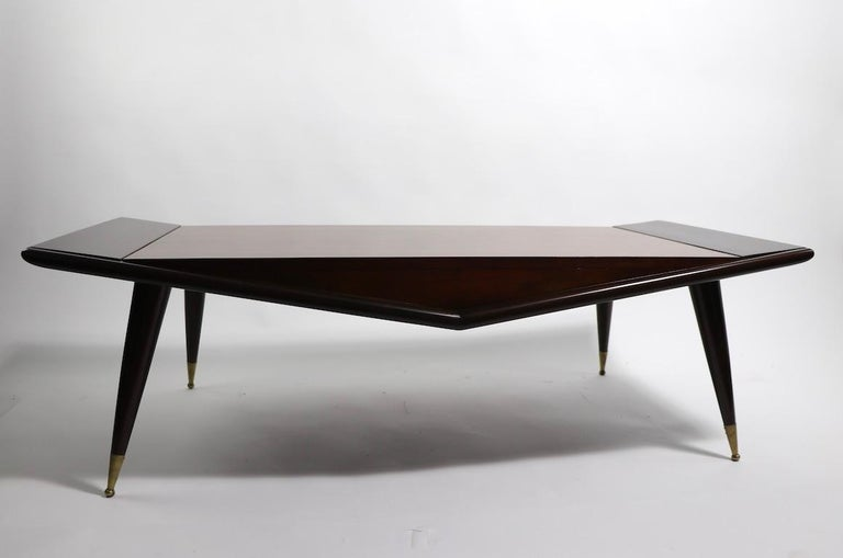 Mid Century Chevron Base Coffee Table by Gordons Fine Furniture In Excellent Condition For Sale In New York, NY