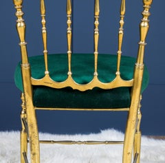 Midcentury Chiavari Brass Chairs Set of Six with Forest Green Seatpads