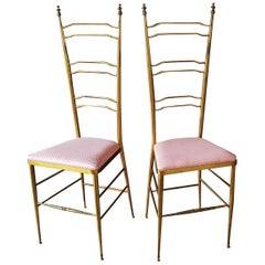 Midcentury Chiavari High Back Chairs, Italy, 1950s