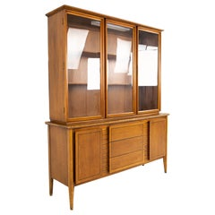 Mid Century China Cabinet and Hutch with Glass Doors