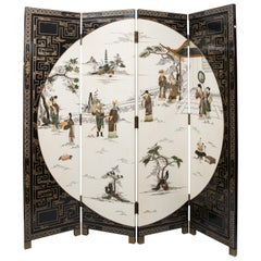 Mid Century Chinese 4 Fold Hand Painted Screen Set With Carved Hardstones
