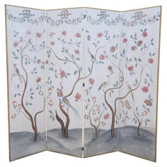 Mid-Century Chinese Beige and Flowering Tree Four Panel Screen