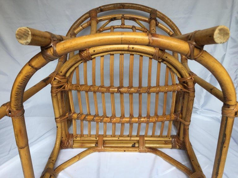 Midcentury Chinese Chippendale Brighton Pavilion Style Bamboo Accent Armchair For Sale 4