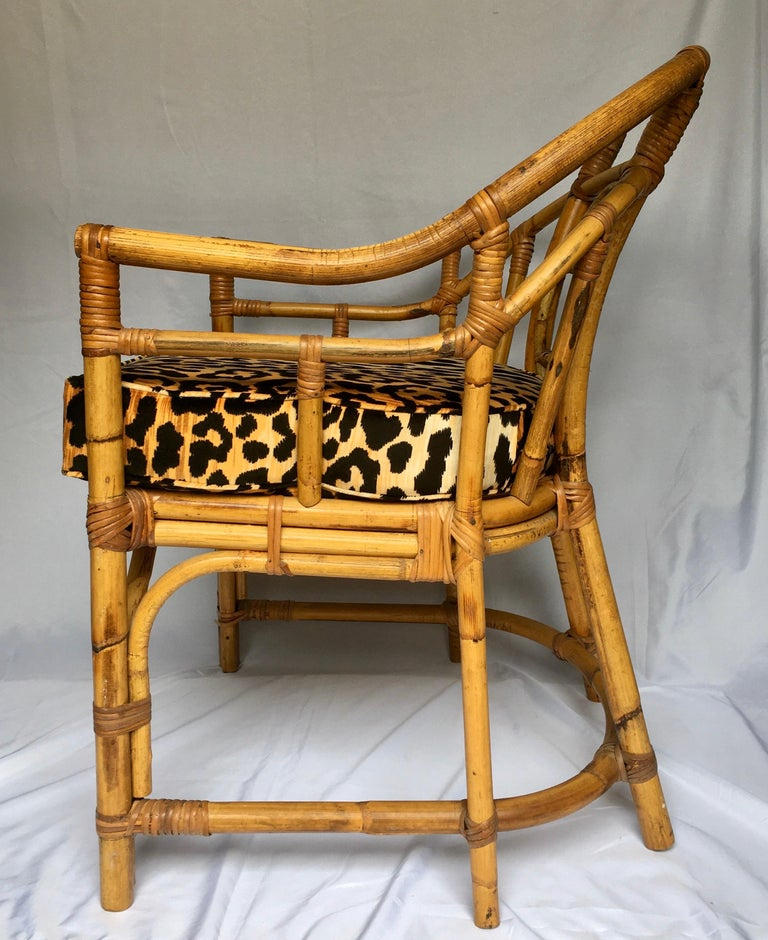 Chinoiserie Midcentury Chinese Chippendale Brighton Pavilion Style Bamboo Accent Armchair For Sale