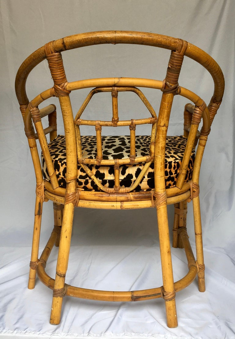 Midcentury Chinese Chippendale Brighton Pavilion Style Bamboo Accent Armchair In Good Condition For Sale In Lambertville, NJ