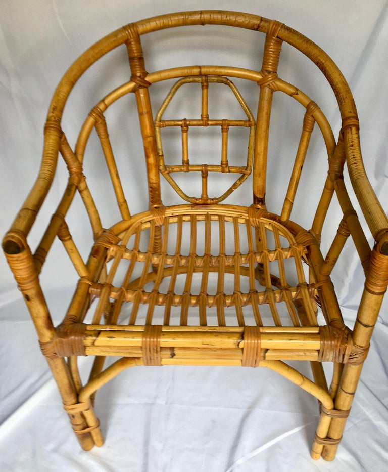 Midcentury Chinese Chippendale Brighton Pavilion Style Bamboo Accent Armchair For Sale 2