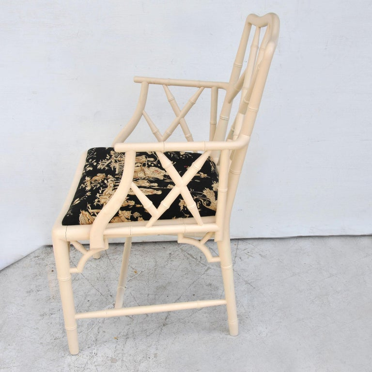 American Midcentury Chinese Chippendale Cockpen Faux Bamboo Cane Desk Chair For Sale