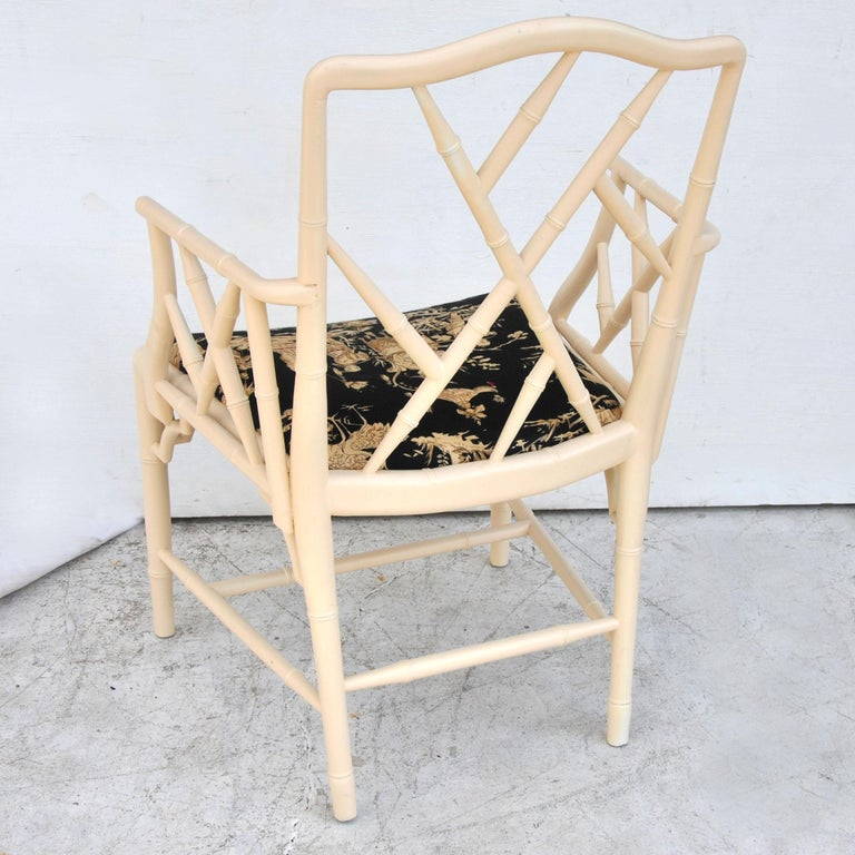 20th Century Midcentury Chinese Chippendale Cockpen Faux Bamboo Cane Desk Chair For Sale