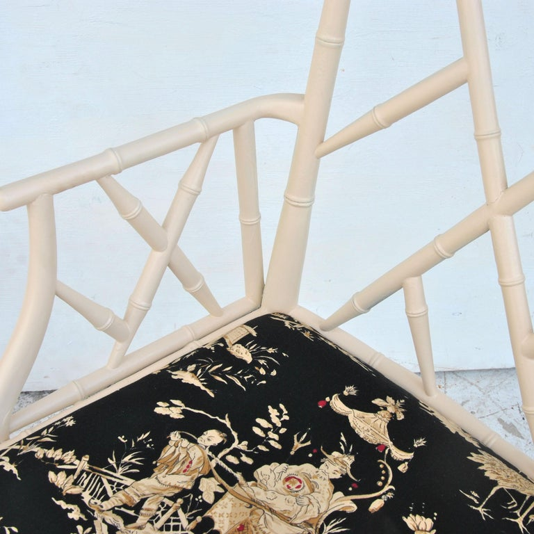 Midcentury Chinese Chippendale Cockpen Faux Bamboo Cane Desk Chair For Sale 2