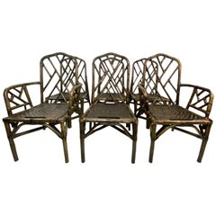 Mid-Century Chinese Chippendale Style Bamboo and Rattan Dining Chairs - Set of 6