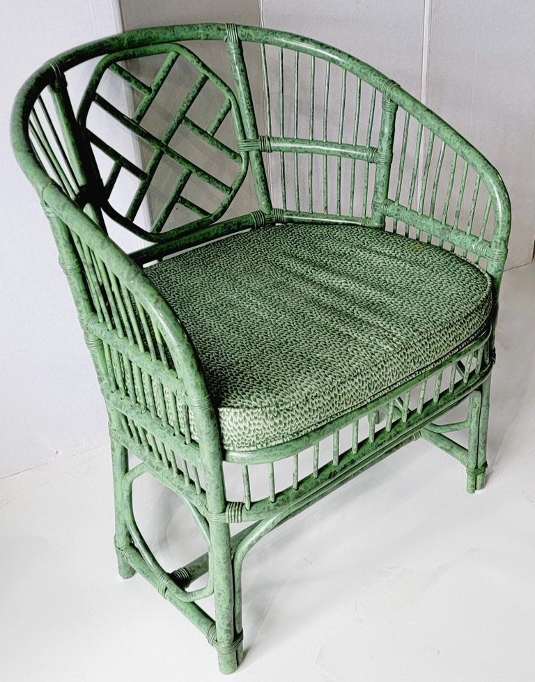 Asian Mid-Century Chinese Chippendale Style Brighton Bamboo Arm Chair in Chintz