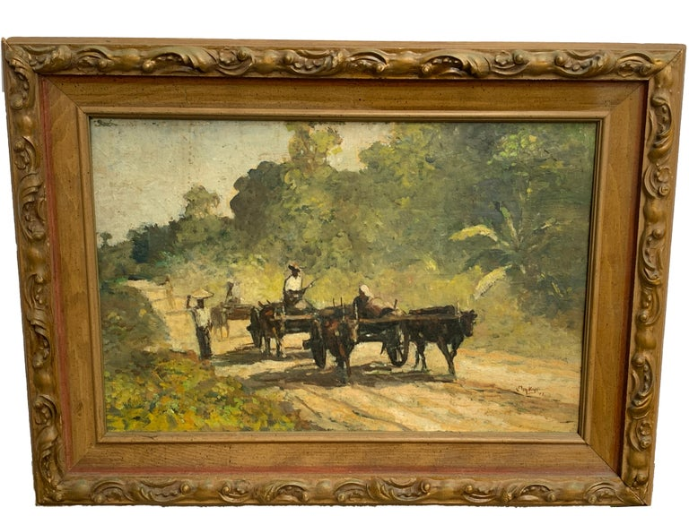 Midcentury Chinese landscape painting, farmers with oxen, signed Lower right 'Jin Ky '71' Oil on board 12