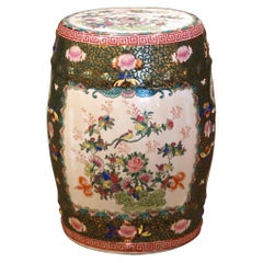 Mid-Century Chinese Porcelain Garden Stool with Bird and Floral Decor
