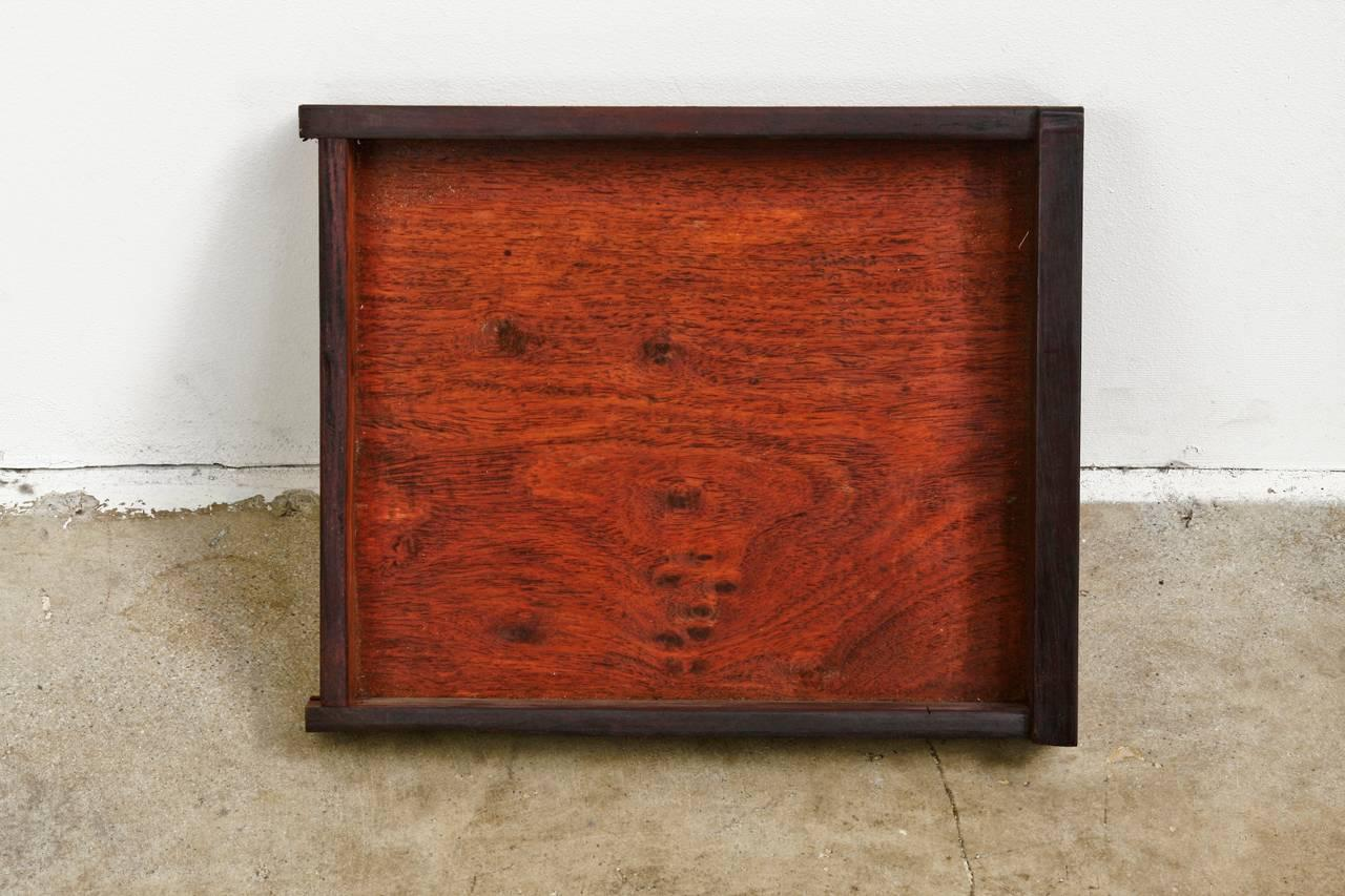 Midcentury Chinese Rosewood Dry Bar Liquor Cabinet For Sale 1