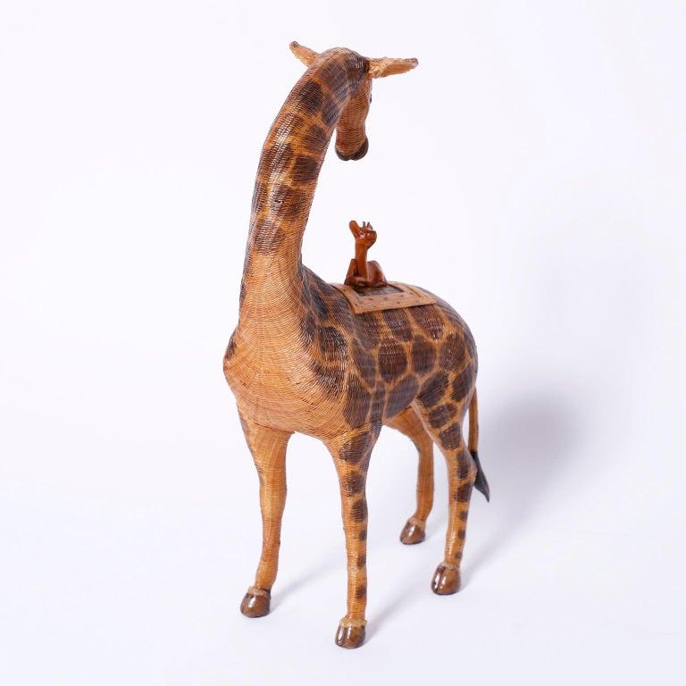 Chinoiserie Midcentury Chinese Wicker Giraffe Box For Sale