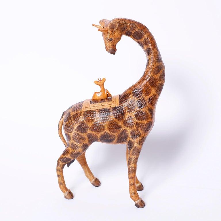 20th Century Midcentury Chinese Wicker Giraffe Box For Sale