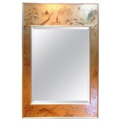 Midcentury Chinoiserie Eglomise Mirror