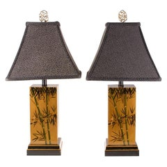 Mid Century Chinoiserie Gilt-Wood Lacquered Table Lamps