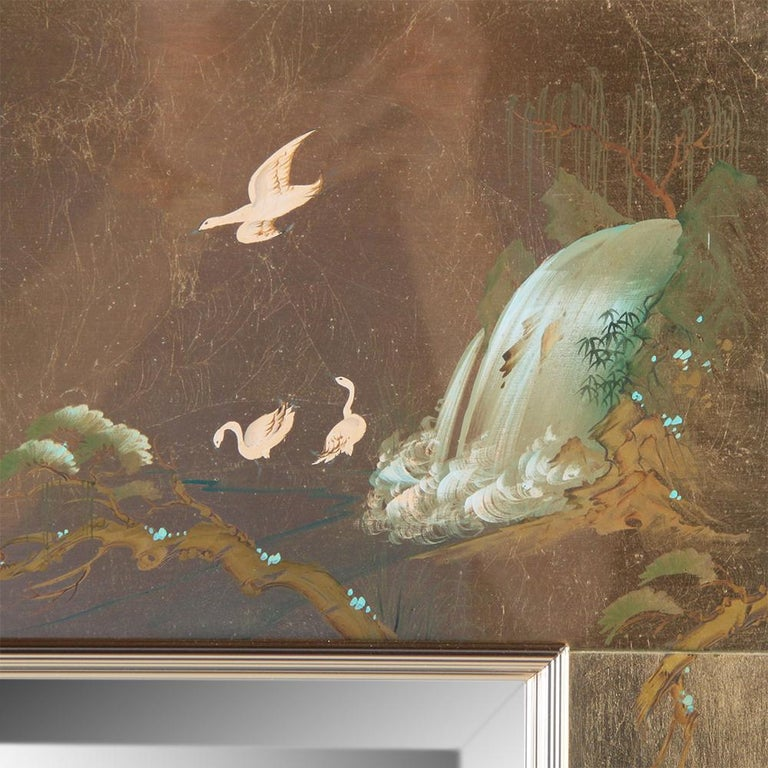 American Mid-Century Chinoiserie Hand-Painted Mirror For Sale