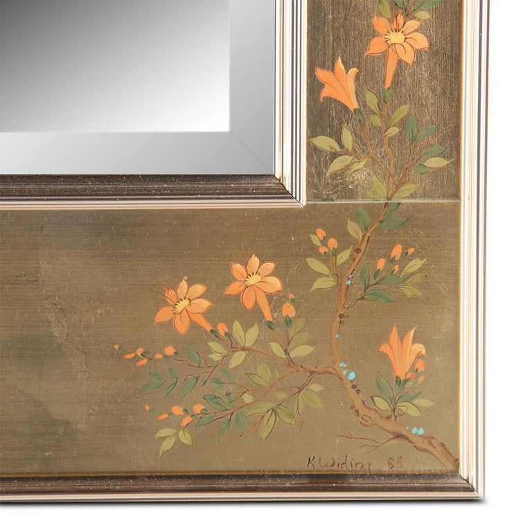 Mid-Century Chinoiserie Hand-Painted Mirror In Good Condition For Sale In Vancouver, British Columbia