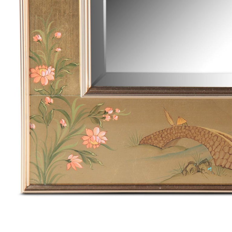 20th Century Mid-Century Chinoiserie Hand-Painted Mirror For Sale