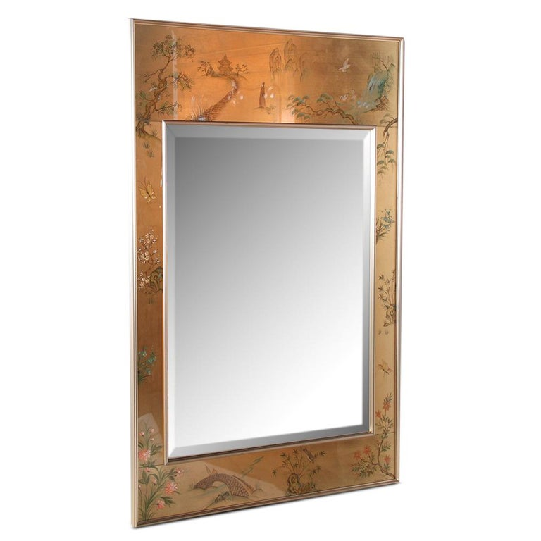 Glass Mid-Century Chinoiserie Hand-Painted Mirror For Sale