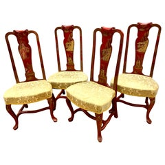 Mid-Century Chinoiserie Red Lacquered and Gilt Dining Chairs, Set of 4