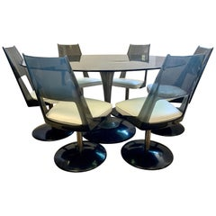 Mid-Century Chromcraft Black Lucite Tulip Table, and Six Swivel Tulip Chairs