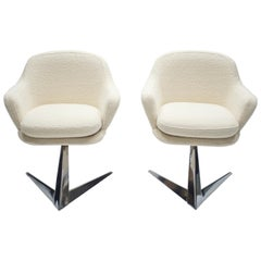 Midcentury Chrome and Bouclette Armchairs by Jacques Adnet, 1960s