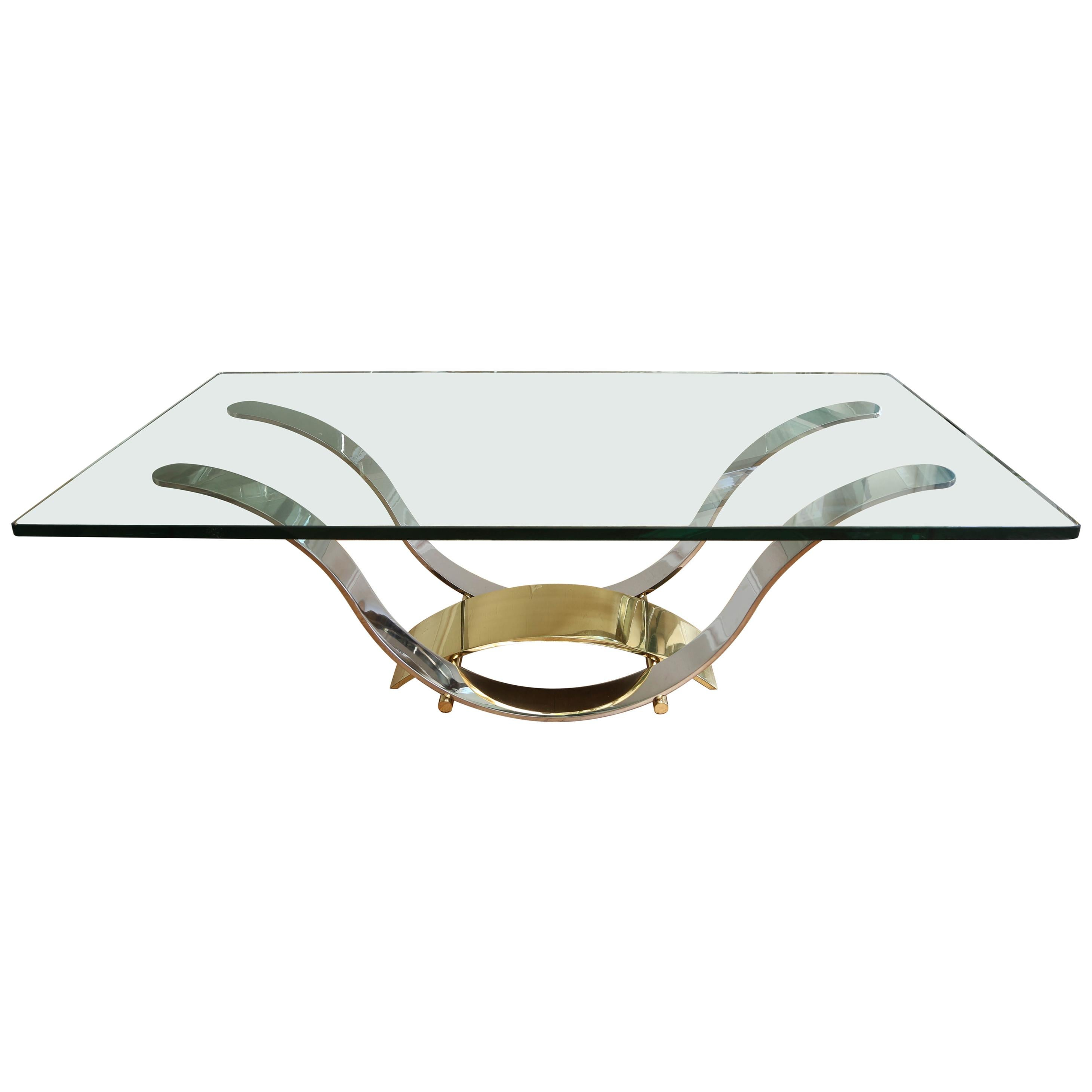 Mid Century Chrome and Brass Coffee Table