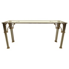 Midcentury Chrome and Brass Console Table