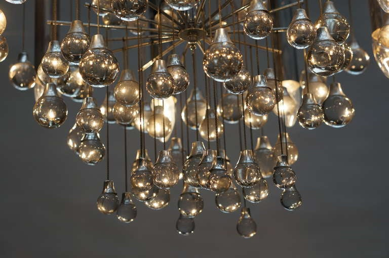 Three Midcentury Chrome and Glass Chandeliers by Sciolari, Italy For Sale 3