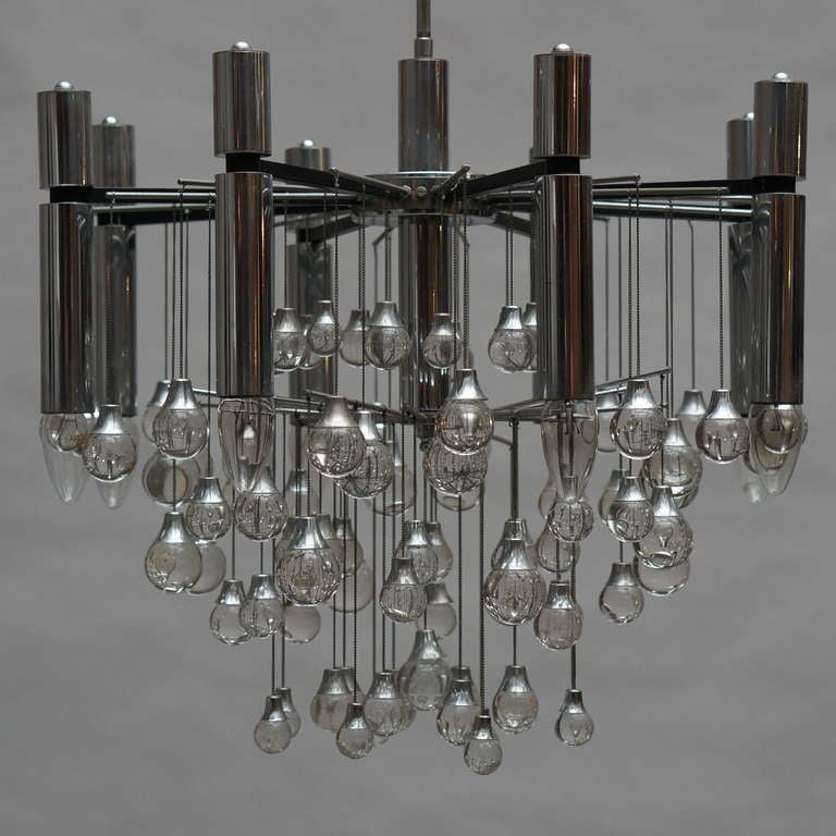 Mid-Century Modern Three Midcentury Chrome and Glass Chandeliers by Sciolari, Italy For Sale