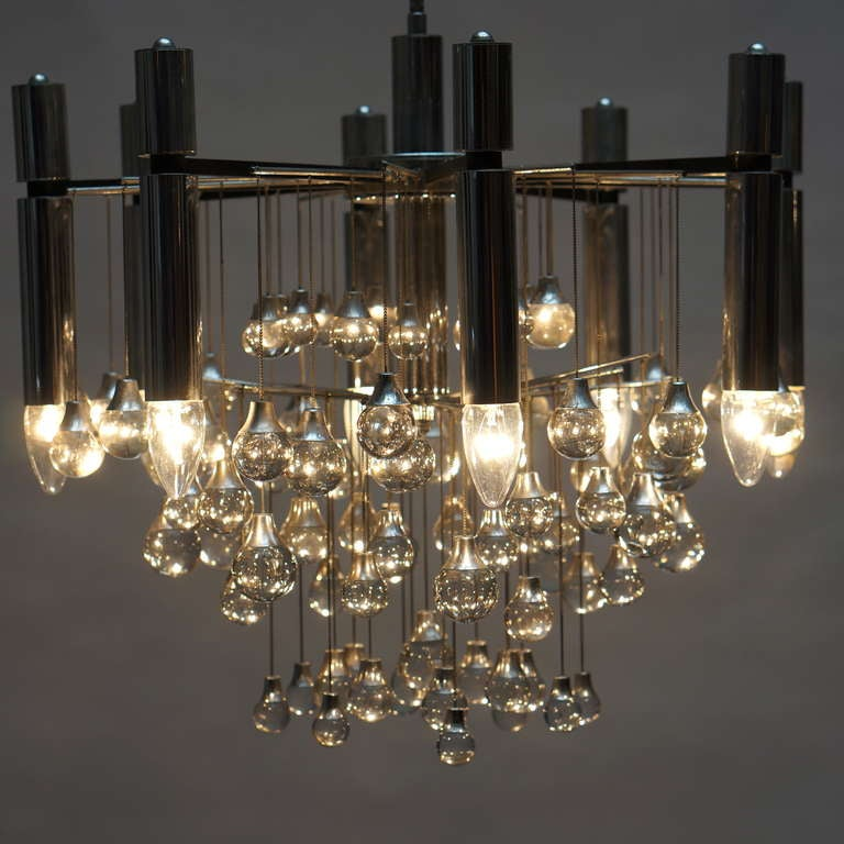 Italian Three Midcentury Chrome and Glass Chandeliers by Sciolari, Italy For Sale