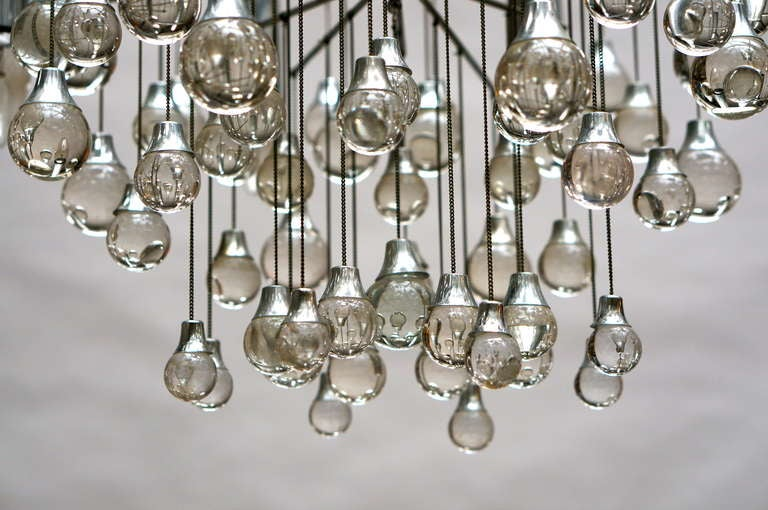 Mid-20th Century Three Midcentury Chrome and Glass Chandeliers by Sciolari, Italy For Sale
