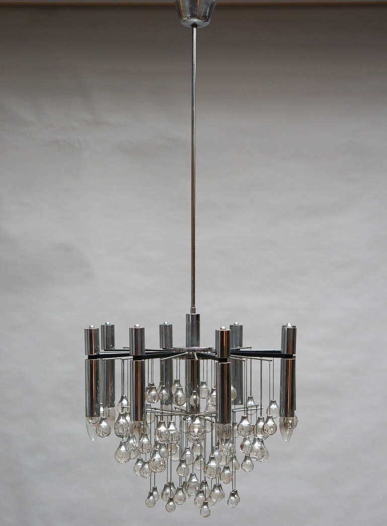 Metal Three Midcentury Chrome and Glass Chandeliers by Sciolari, Italy For Sale