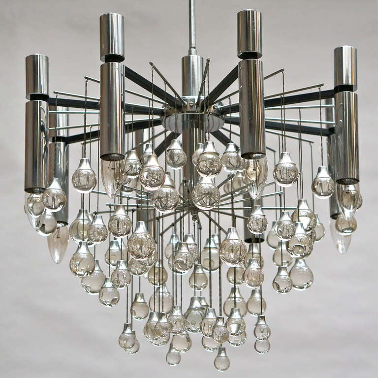 Three Midcentury Chrome and Glass Chandeliers by Sciolari, Italy For Sale 2