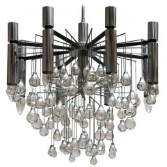 Three Midcentury Chrome and Glass Chandeliers by Sciolari, Italy
