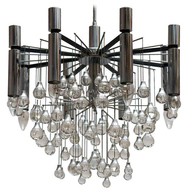 Three Midcentury Chrome and Glass Chandeliers by Sciolari, Italy For Sale