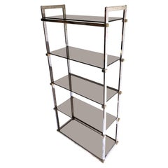 Midcentury Chrome and Glass Shelving Unit Pieff, 1970s