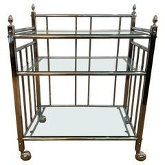 Midcentury Chrome and Glass Three Tiered Bar Cart
