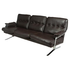 Mid Century Chrome and Leather Sofa by Arne Norrell, circa 1960