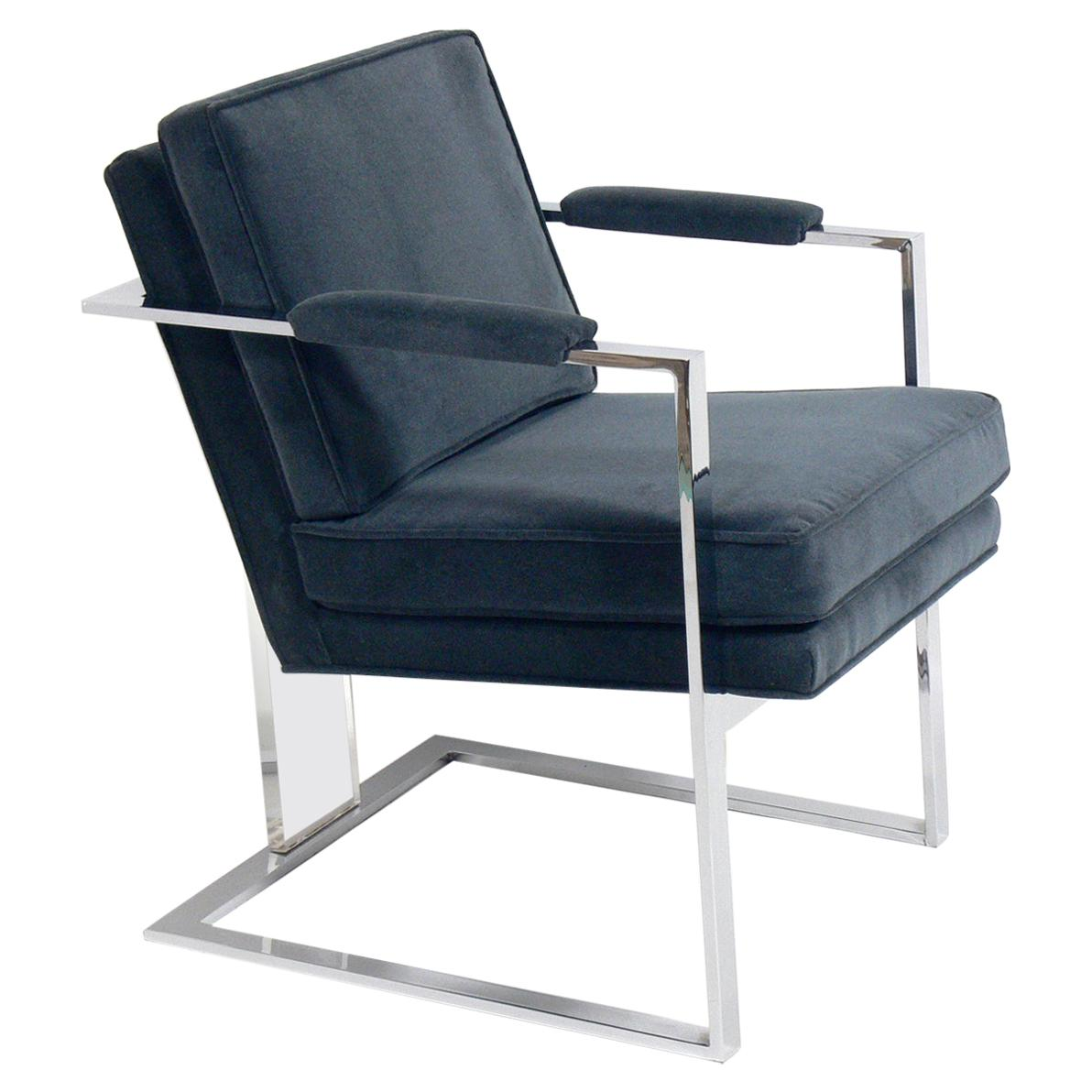 Midcentury Chrome and Lucite Lounge Chair Attributed to Milo Baughman