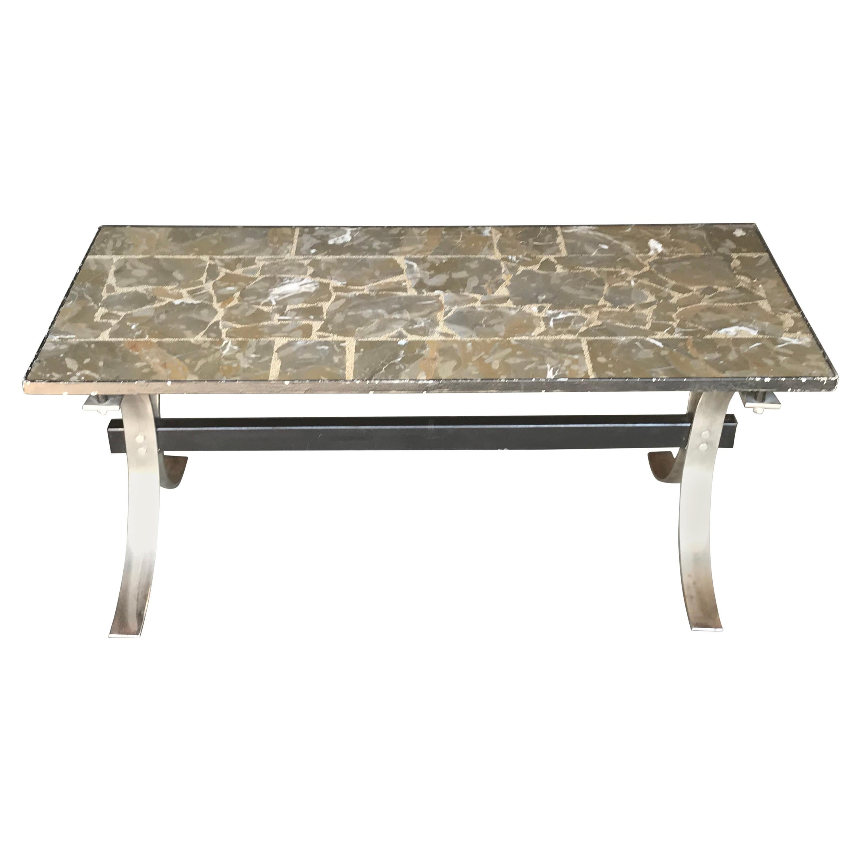 Midcentury Chrome And Marble Coffee Table, 1950s